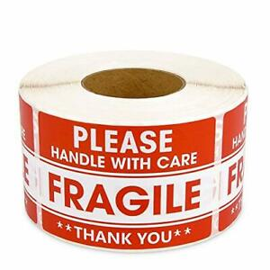 Methdic 2x3 Strong Adhesive Fragile Stickers 1 Roll 500 handle With Care