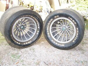 Pair Vintage Muscle Car N50 15 Mickey Thompson Tires Et Turbine Mag Wheels