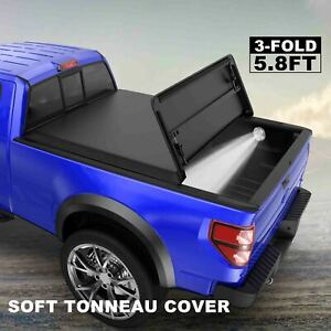 3 Fold 5 8ft Bed Tonneau Cover For Gmc Sierra Chevy Silverado Truck 2007 2013