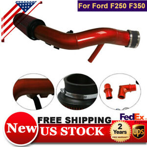 Oiled Cold Air Intake Kit Red For Ford F250 F350 6 0l Powerstroke Diesel 2003 07