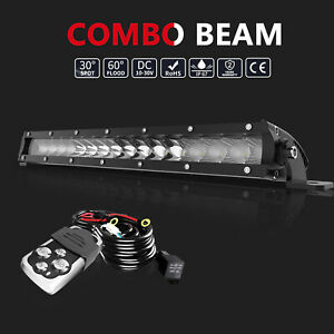17 Inch 80w Led Light Bar Flood Spot Combo Wires For Offroad Suv Atv 4wd Truck