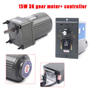 15w Ac110v Gear Motor Electric Motor Variable Speed Controller 1 3 450rpm New