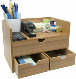 3 tier Bamboo Shelf Organizer For Desk With Drawers For Office Supplies