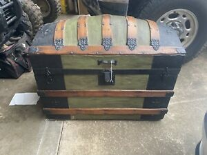 Large Antique Victorian Dome Top Camelback Wood Metal Chest Steamer Trunk