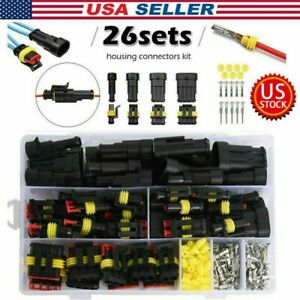 26sets kit 1 2 3 4 Pin Electrical Wire Connector Plug Waterproof Automotive Plug