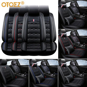 Luxury Leather Car 5 Seat Covers Front Back Full Set Cushion Protector Universal