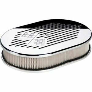 Billet Specialties 15327 Air Cleaner Small Oval Cross Flags Polished New