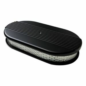 Billet Specialties Blk15640 Large Oval Ribbed Air Cleaner Satin Black New