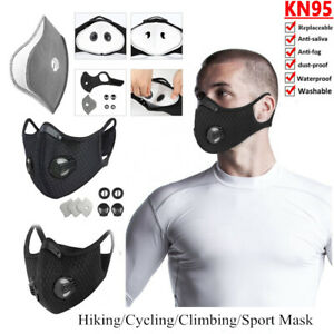 Mask Reusable Double Vent Face Cover Cycling Carbon Filter Pad Respirators Adult