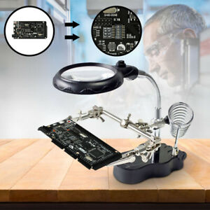New Soldering Iron Stand Led Helping Hands Magnifying Glass Clip Uk