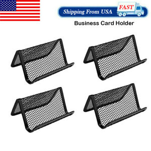 4pcs Metal Mesh Business Card Holder Display Organizer Stand Office Desk New