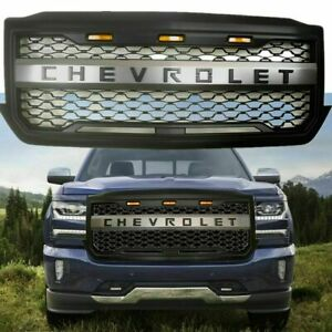 Front Grille For 2016 2018 Chevy Silverado 1500 Grill Bumper Led Amber Light Us