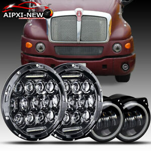 7 Round Projector Led Headlights Halo Hi Lo Fog Lamp For Kenworth T2000 Truck