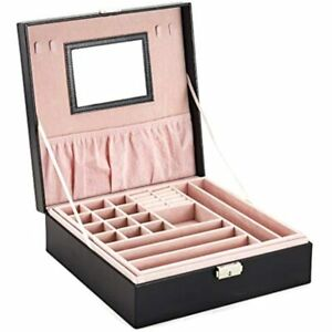 Jewelry Box Organizer With Lock And Key black Leather Watche Earring Ring Case