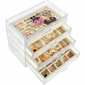 Acrylic Jewelry Box With 4 Drawers Velvet Organizer For Earring Necklace Ring