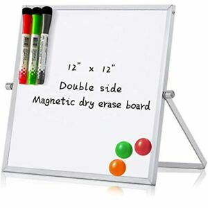 12 X Small Magnetic Dry Erase White Board Mini Portable Dual sided Desktop Easel