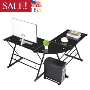 Black L Shaped Computer Desk Office Furniture Table Workstation Glass Corner