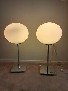 Pair Of Rare Mid Century Modern Chrome White Glass Globe Table Lamps Laurel