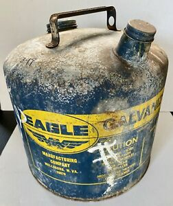 Vintage Eagle 5 Gallon 26 Gauge Galvanized Gas Gasoline Can Model 405 Usa