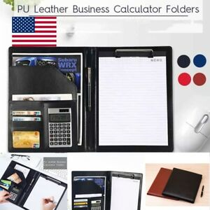 A4 Business Document Bag Pu Leather Conference Folder With Calculator Clipboard