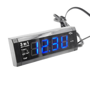 3 In 1 Universal Red Blue Light Voltmeter Thermometer Digital Electronic Clock