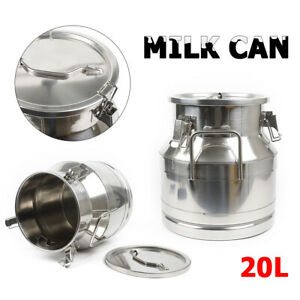20l Stainless Steel Milk Can Sealer Container Wine Pail Bucket Tote Jug 5 25 Gal