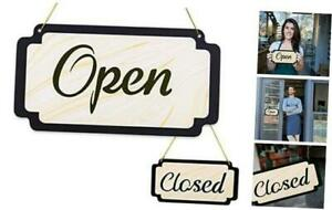 Open Signs For Business Double Side Open Closed Sign Wood Grain Vintage Open Si