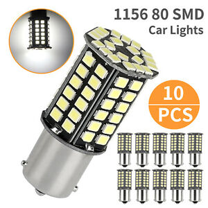 10x Super Bright White 1156 Rv Trailer 80 Smd Led 1141 Interior Light Bulb 6000k