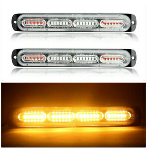 2pcs Amber Amber 24led Car Truck Emergency Warning Hazard Flash Strobe Light Bar
