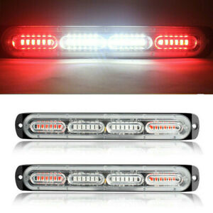 2pcs Red white 24led Car Truck Emergency Warning Hazard Flash Strobe Light Bar
