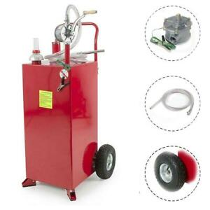 30 Gallon 120kgs Gas Fuel Diesel Caddy Transfer Tank Container W Rotary Pump