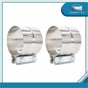 2pcs 3 304 Stainless Steel Lap Joint Clamp Heavy Duty Exhaust Band 76mm Us