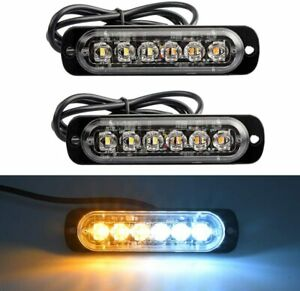 4 Amber White 6led Emergency Hazard Warning Flash Strobe Light Beacon Caution