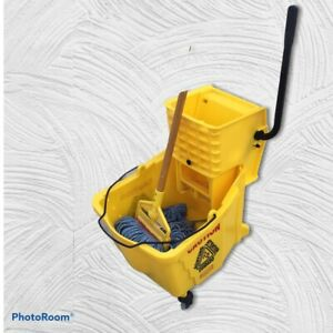 Yellow Rubbermaid Mop Bucket 7571 W rubbermaid Mop Wringer 6127 Commercial