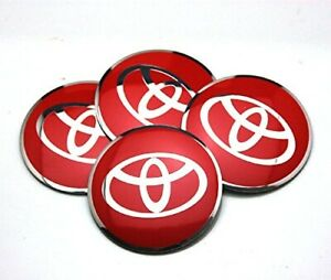 4x 56mm Red Wheel Center Cap Decal Sticker For Camry Prius Corolla 4runner