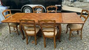 Vintage Antique French Country Oak Dining Table 6 Chairs