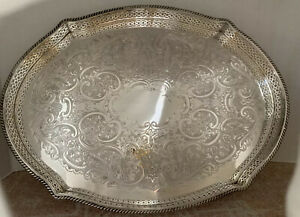 Silver Plate Electroplated On Copper Serving Or Vanity Tray 14 By 10 Vintage