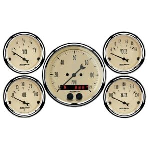 Auto Meter 1850 5 Pc Gauge Kit Gps Antique Beige Speedometer New