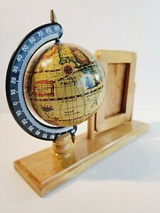 Small Adjustable 7 Wooden World Globe With 2x By 3x Pictures Frame