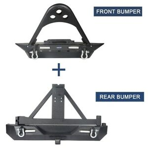 Hooke Road Front Bumper Rear Bumper W Tire Carrier Fit Jeep Wrangler 87 06 Yj Tj