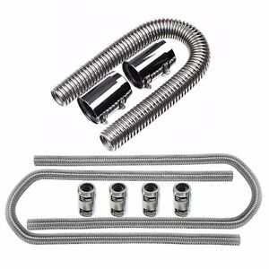 36 Stainless Steel Flexible Radiator 44 Heater Hose With Clamp Covers Set