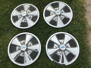 Set Of 4 Cragar Ss Vintage Chrome Wheel Covers Hubcaps 14 Nice