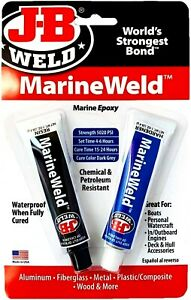J b Weld 8272 Marineweld Marine Epoxy For Aluminum fiberglass metal Etc 2 Oz