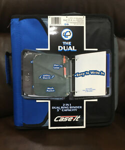 New Case It 2 In 1 Dual Ring Binder Black Blue 3 Capacity The Dual