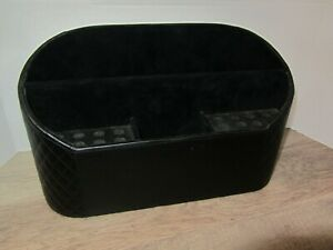 Rare Htf Levenger Leather Black Unifier desk Organizer Euc