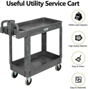 Pastic Service Utility Cart Support 550lbs Capacity Ergonomic Handle Heavy Duty