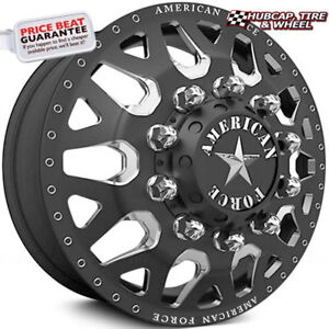 American Force Quake 22 X8 25 Special Force Black Dually Wheels Set Of 6 Forged