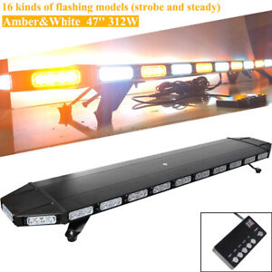 47 Led Emergency Strobe Light Bar Beacon Warn Tow Truck Response Amber White