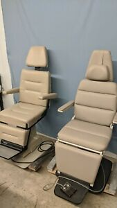 Pair Of Beige Ent Exam Chairs Midmark 418 Reliance 6100h Tested And Clean