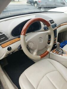 Tan Leather Light Brown Wood Steering Wheel Cover 02 06 W211 S211 E E200 E320